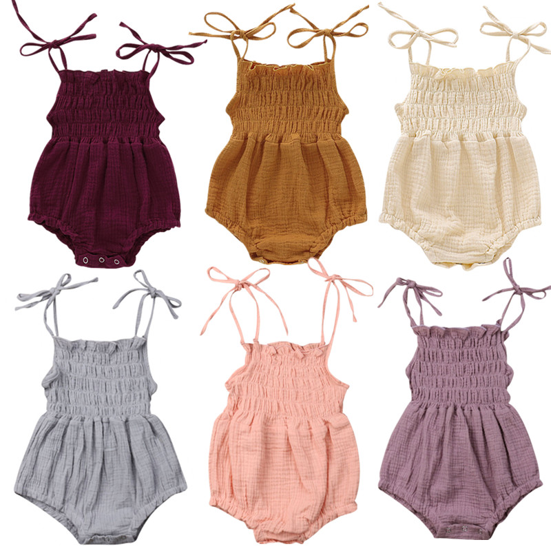 26aa57631 6Color Summer Newborn Infant Baby Girl Solid Romper Jumpsuit Outfit Clothes  Baby Clothing