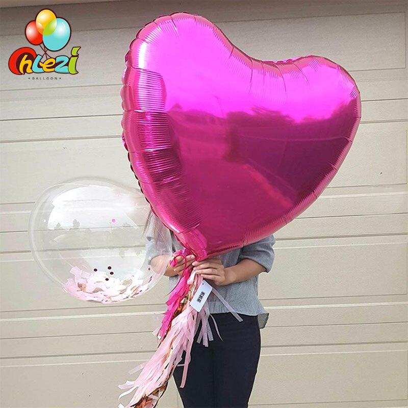 32 дюйма 75 см «любящее сердце» Форма алюминиевой фольги Воздушные шары на день рождения вечерние украшения воздушный шар с гелием свадебное украшение чистое Globos-3