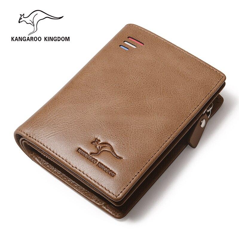 KANGAROO KINGDOM famous brand luxury vintage men wallets genuine leather zipper purse credit card holder wallet