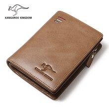 ecb971c208a65 KANGAROO brytania znaną marką luksus w stylu vintage mężczyźni portfele ze  skóry naturalnej zamek etui na. 2 dostępne kolory