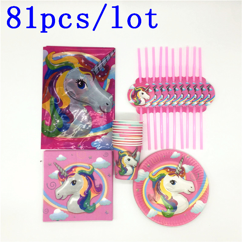 81Pcs/lot  Unicorn Birthday Party Decorations Kids Disposable Tableware Sets Paper Tablecloth Cups Plates Party Supplies81Pcs/lot  Unicorn Birthday Party Decorations Kids Disposable Tableware Sets Paper Tablecloth Cups Plates Party Supplies