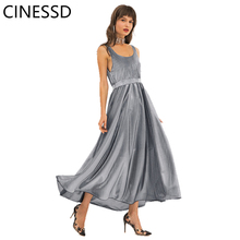 CINESSD Women Sexy Sleeveless Long Dress Round Neck Silver Mesh Stitch High Waist Backless A Line Swing Elegant Party Maxi Dress