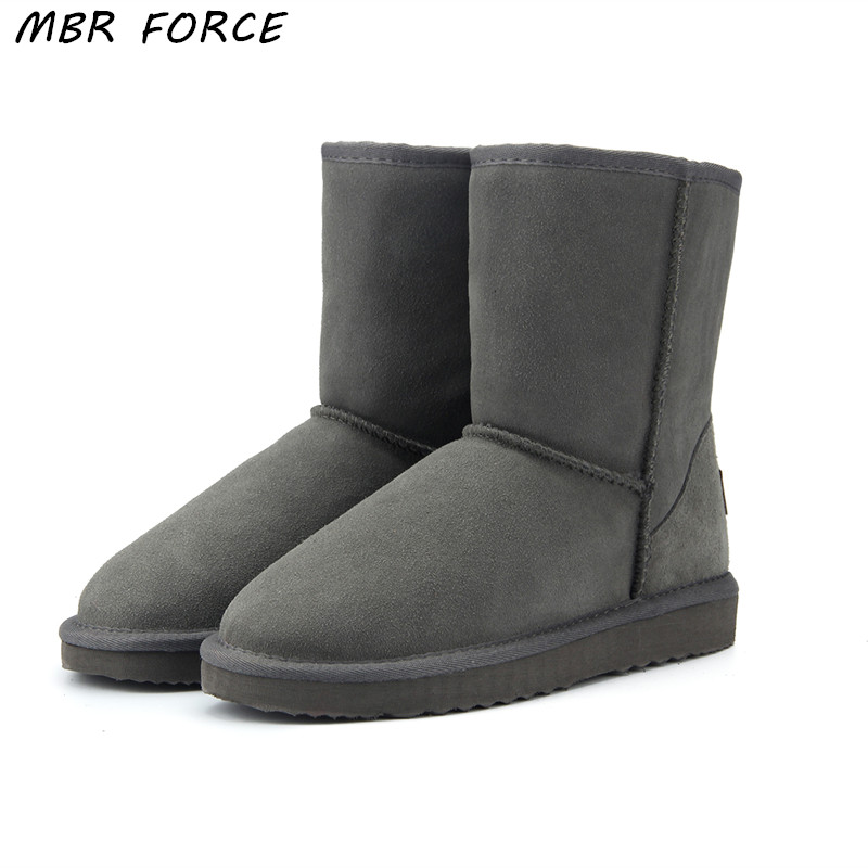 MBR FORCE High Quality Genuine Cowhide Leather Australia Classic 100 Wool snow boots Women Boots Warm