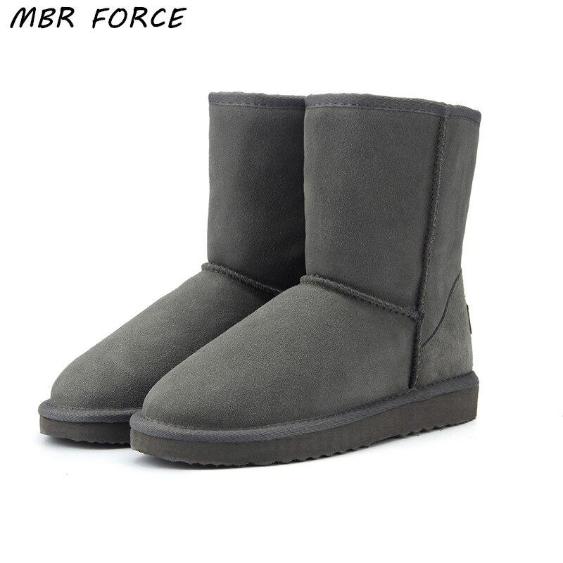 MBR FORCE Haute Qualité Véritable peau de Vache En Cuir Australie Classique 100% Laine neige bottes Femmes Bottes chaussures Chaudes d'hiver pour les femmes