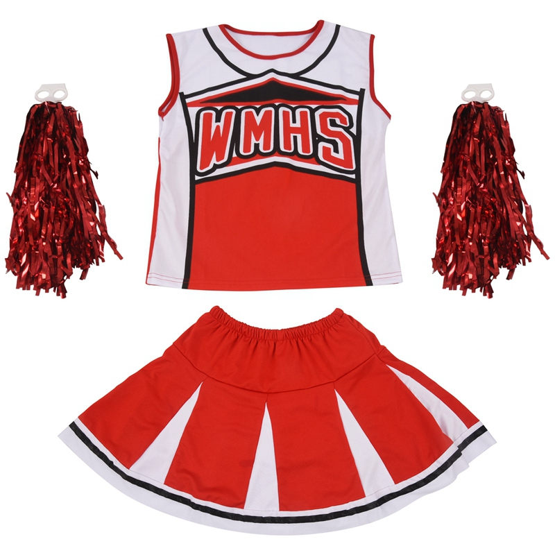 Tank Top Petticoat Pom Pom-pom Cheerleader Cheer Leaders M (34-36) 2 Piece Suit New Red Costume