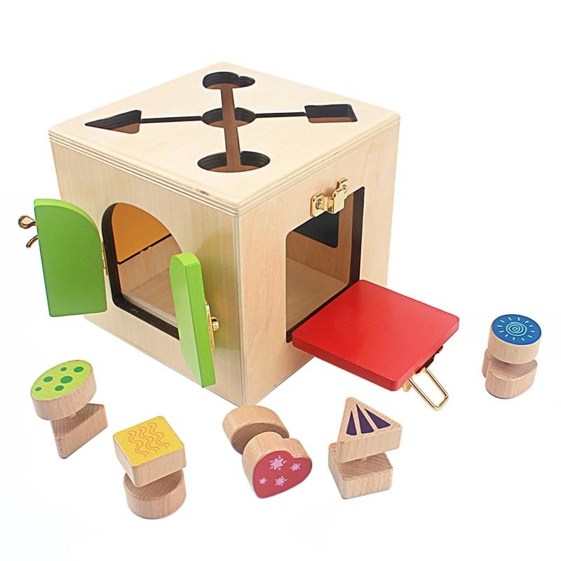 Montessori enseignement multifonction serrure boîte ensemble bébé apprendre à débloquer l'éducation précoce jouets pratique vie compétence jouet garçons filles - 5