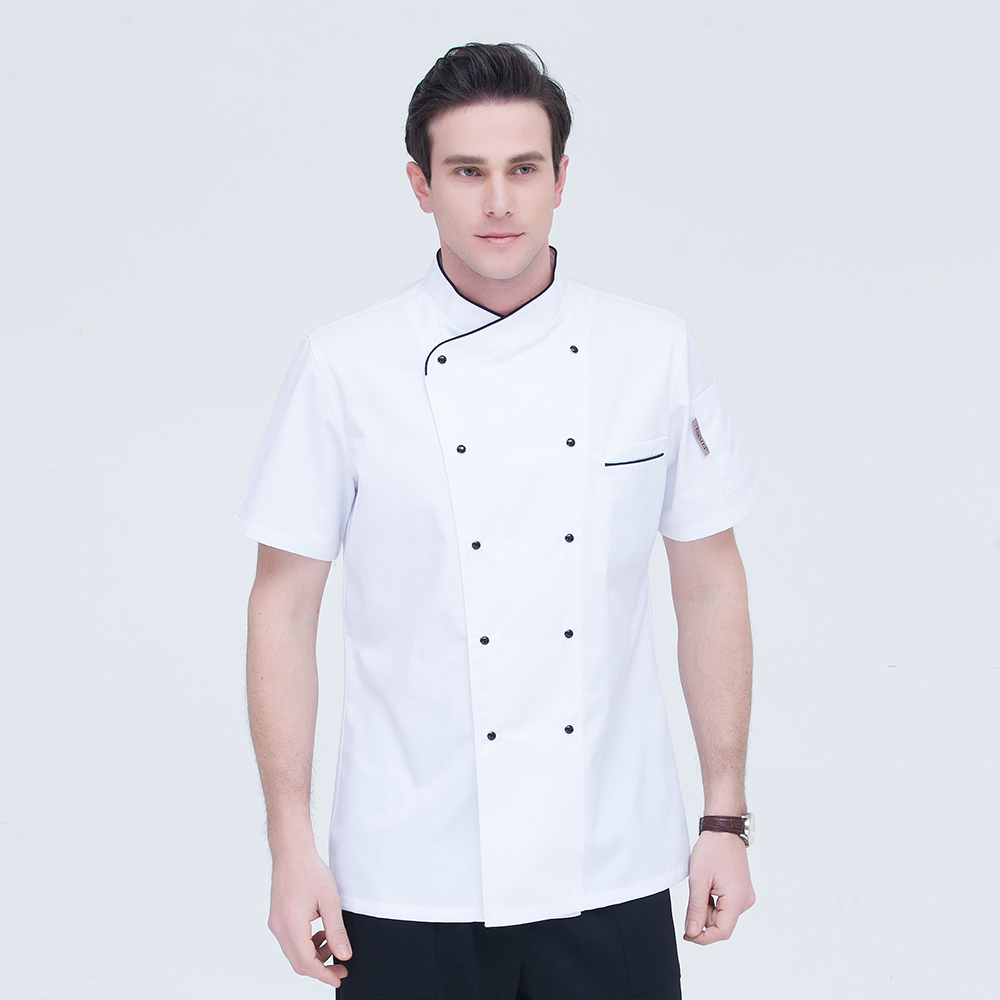 Summer Withe Short Sleeve Chef Jacket Restaurant Hotel Kitchen Cook Suit Man Woman Home Coat Kitchen Work Overalls Clothes