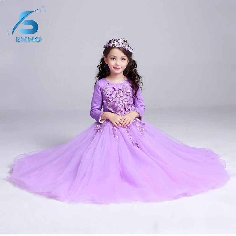 2018 Party Princess Flower Girl Dress Wedding Long Formal Children Birthday Dresses For Girls Kids girls short in front long in back purple flower girl dress summer 2017 girl formal dress kids party princess custume skd014283