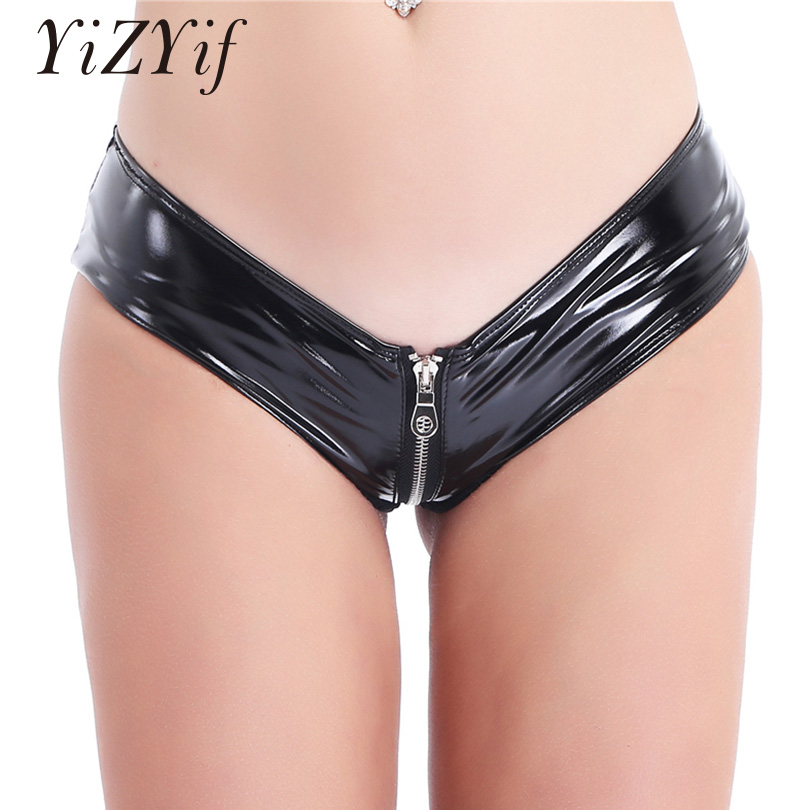 Yizyif Latex Shorts Crotchless Panties Open-Crotch Fetish Zipper Sexy Women title=