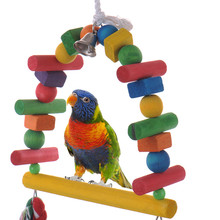 Natural Colorful Pet Bird Wood Chewing Toys Parrot Macaw Cage Wooden Blocks Swing Playing Scratcher Climbing Toy