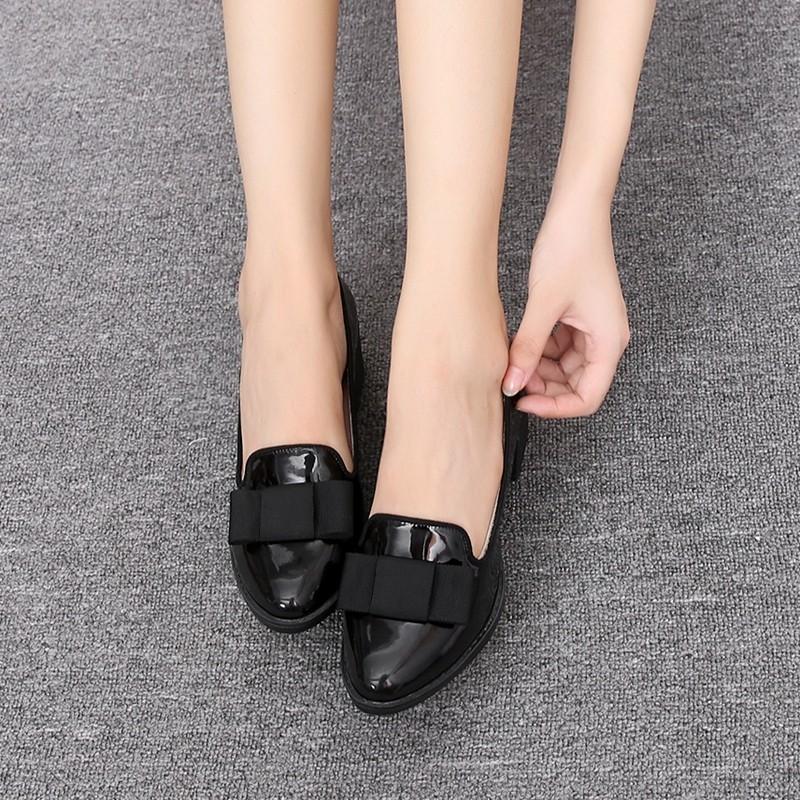Sweet Bowtie Patent Leather Pumps Round Roe Women\'s Platform Elegant Thick High Heel Shoes Plus Size 34-40 Slip-on High Heels (9)