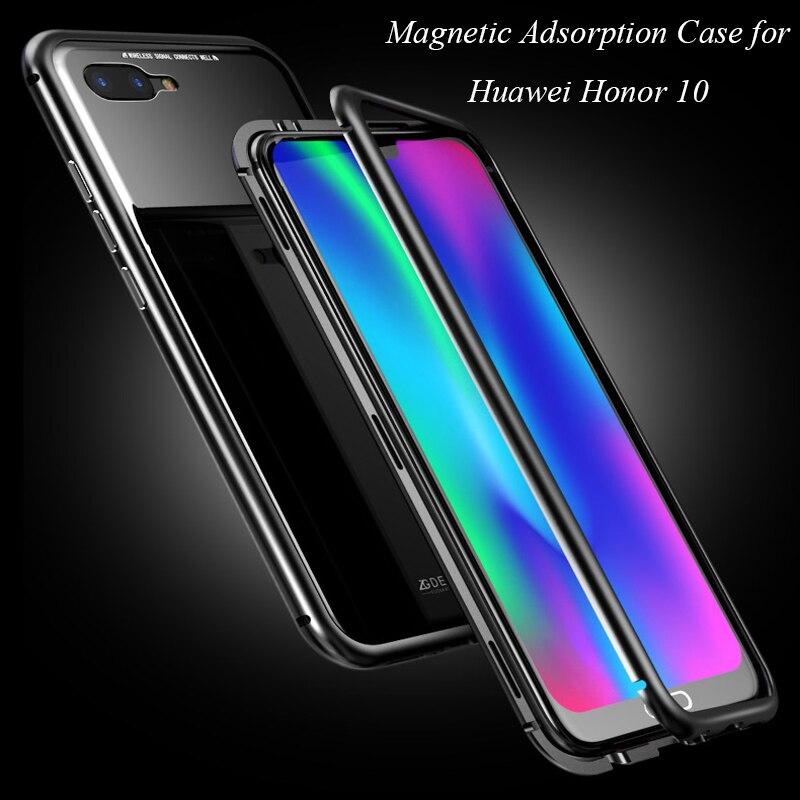 Adsorção magnética Caso para Huawei Caso Honra 10 Limpar Vidro Temperado + Ímã Embutido para Huawei Honor 10 Metal Ultra cobrir