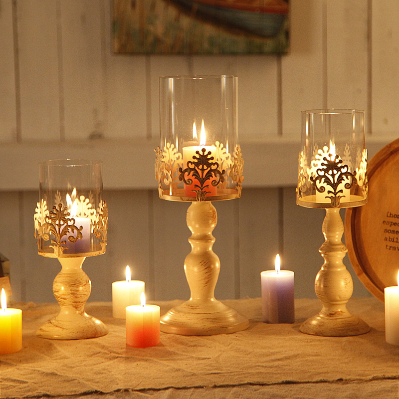European Style Creative Wrought Iron Candle Holders metal ...