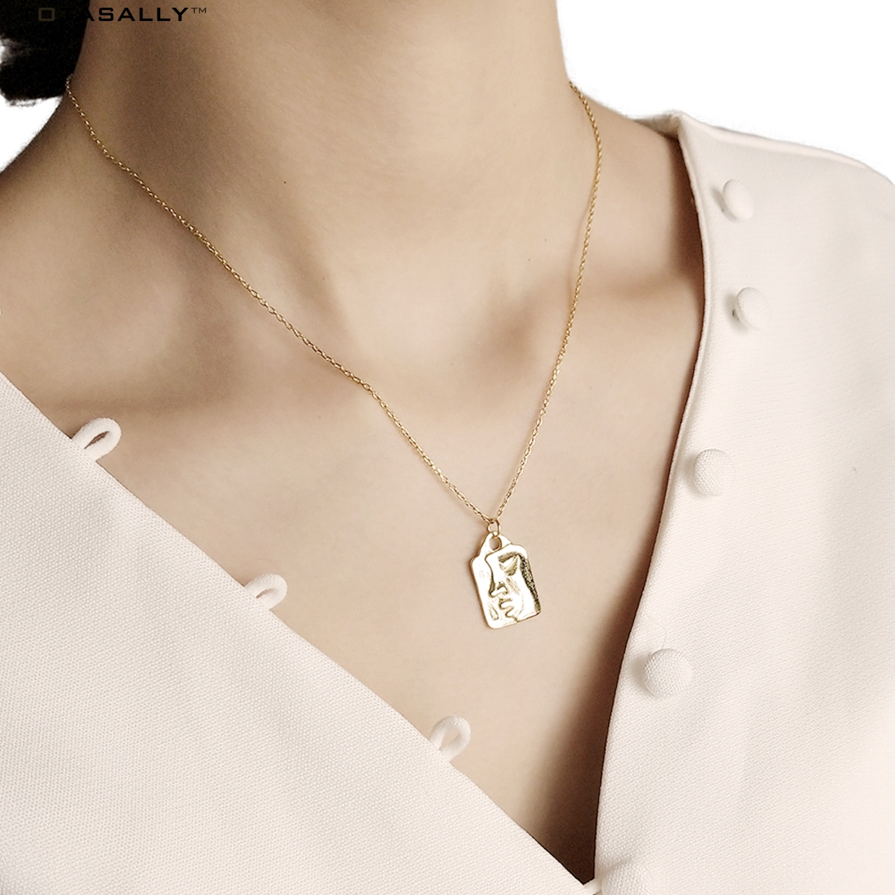 TOTASALLY S925 Sterling Silver designed artistic crying face Chinese characters carved medallion Pendant necklace For Women retro carved metal pendant necklace for women