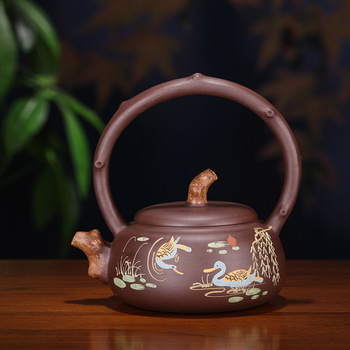 Pottery Teapot Yixing Famous Manual Raw Ore Purple Ink For Imprinting Of Seals Mandarin Ducks Playing In The Water Teapot