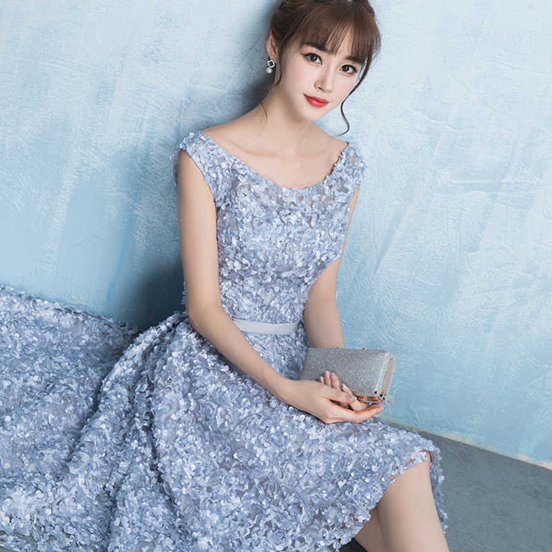 d6211bfcfd ... 2018 New Arrival Gray Scoop Neck Flowers Lace Up Back Evening Dress  Robe De Soiree Modern ...