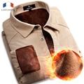 Langmeng 2015 Nueva Caliente Del Invierno de Pana Ropa Slim fit Camisa de Los Hombres Camisas Casuales Para Hombre de Manga Larga 100% Algodón Camisa Masculina