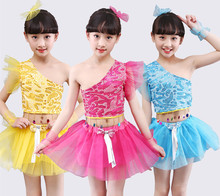 hot deal buy girls clothing sets 2019 new shoulder speaker sleeve kids clothes 2-10 sequined lace dance top + skirt  baby girl clothes