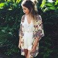 Прочный Лето blusas jaqueta feminina Женщины Геометрия Печатных Шифоновый Платок Кимоно Кардиган Блузка прикрыть плюс размер