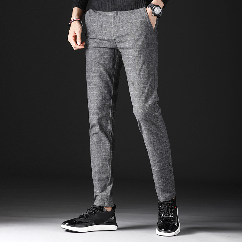Autumn Men Casual Pants Large Size 28-40  Slim Plaid Trousers Men Small Stretch Mens Suit Pants