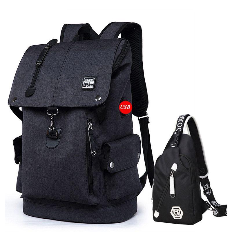 Gepäck & Taschen 2019 Männer Rucksack Für 15,6 Zoll Laptop Usb Rucksack Reise Große Kapazität Mode Stundet Rucksack Wasser Abweisend Rucksack Rucksäcke