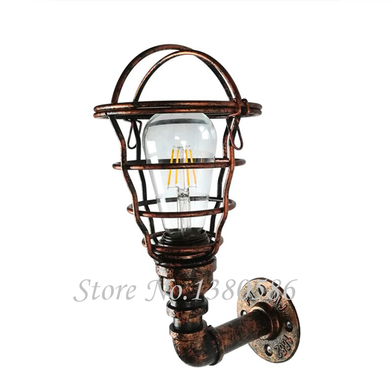 Vintage E27 industrial wind Water pipe Wall Light creative E27 iron cage Wall Lamp for Restaurant Bedroom Coffee Bar Hotel