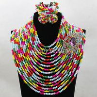 2016 Multicolored African Lady Jewelry Set Nigerian Wedding Big Crystal Bead Necklace Bracelet Earrings Set Free Shipping ALJ305