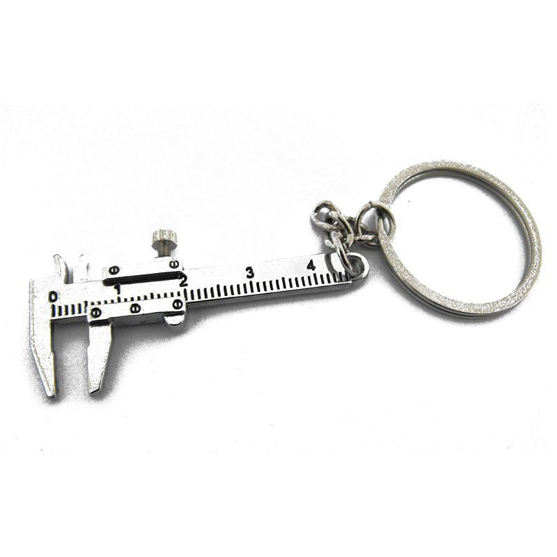 Key Chain Vernier Caliper Ruler Shape Keychain Silver Key