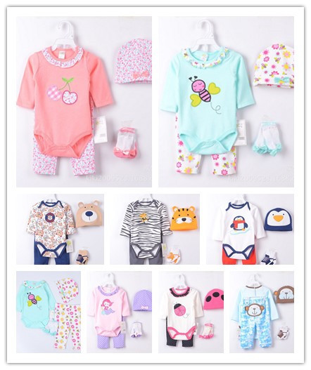 2016 Brand New Baby Boys Clothes Suits 4 pieces Set Zoo Baby Bodysuits Long Pants 100% Cotton Comfortable
