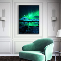 Induction lamp painting Wall Art Pictures For Living Room Northern Lights Canvas Painting Home Decor Landscape Photography