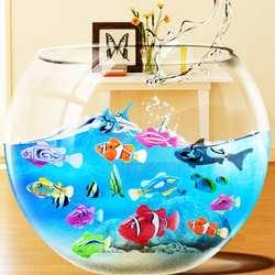 Плавание электронный батарея питание рыбы игрушка интерактивные игрушечные лошадки роботы домашние животные для малыша купальный