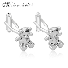 Exquisite Cute Copper Silver Color Bear Cufflinks Sleeve Collar Jewelry Accessories Party Gifts High Quality