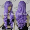 "WQ WF& &> >32"" Long Heat Resistant Big Spiral Curl Light Purple Cosplay Wig"