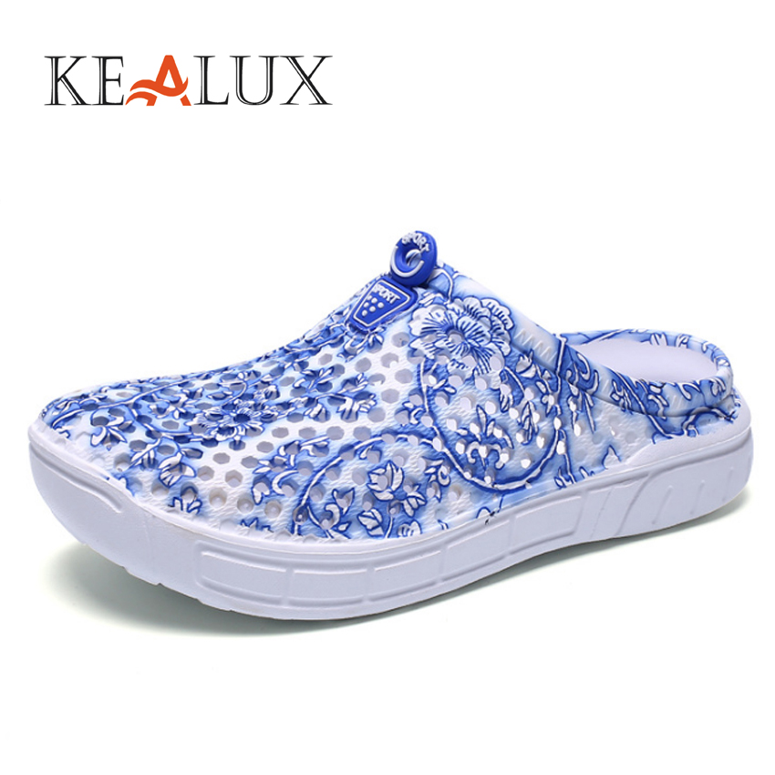 KEALUX 2018 Women's Slippers Shoes Summer beach slippers Casual Mesh Floral Print Pattern Breathable Light instantarts women flats emoji face smile pattern summer air mesh beach flat shoes for youth girls mujer casual light sneakers