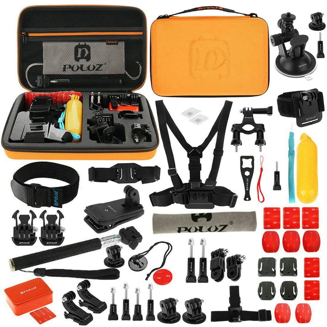 Kit d'accessoires PULUZ 53 en 1 (sangle de poitrine + bras pivotants + boucle j-crochet + dragonne + sangle casque + monopode + supports de Surface + trépied Adap