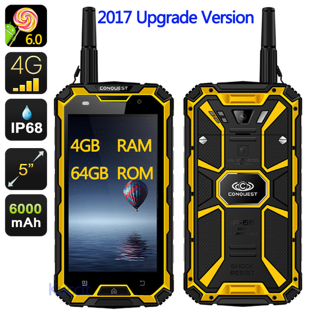 """2017 Upgrade original CONQUEST S8 Rugged Waterproof Phone 4GB RAM Octa Core 5"""" 1920x1080 16.0MP Android 6.0 Ip68 GPS 4G LTE"""