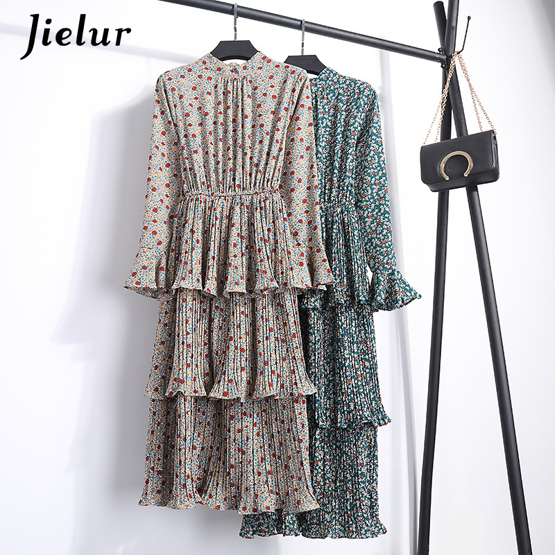 Jielur Cascading Ruffle Chiffon Print Floral Long Dress Femme Slim Boho Casual Dress Elegant S XL Midi Dress Women 2018 Dropship