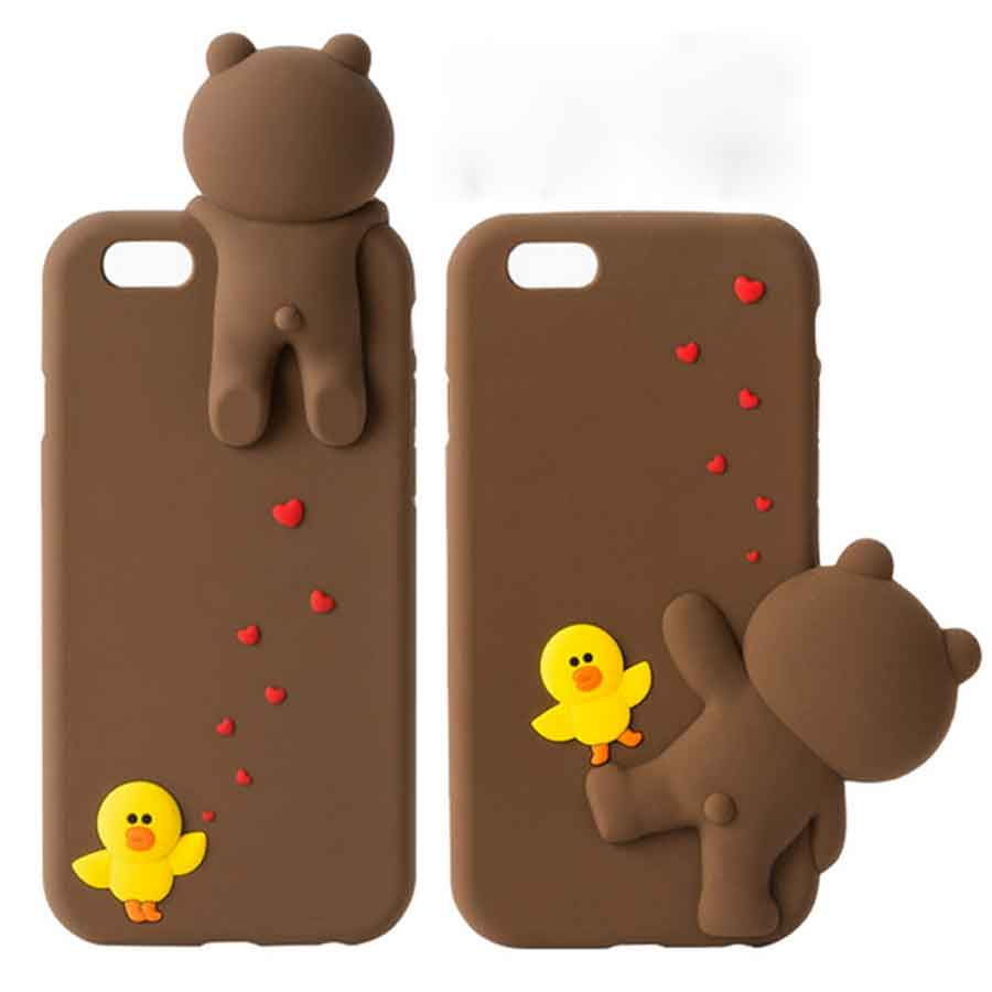 competitive price 92129 f03aa 3D Cute Line Brown Bear Phone Cases For iPhone 6 6s plus 7 7plus ...