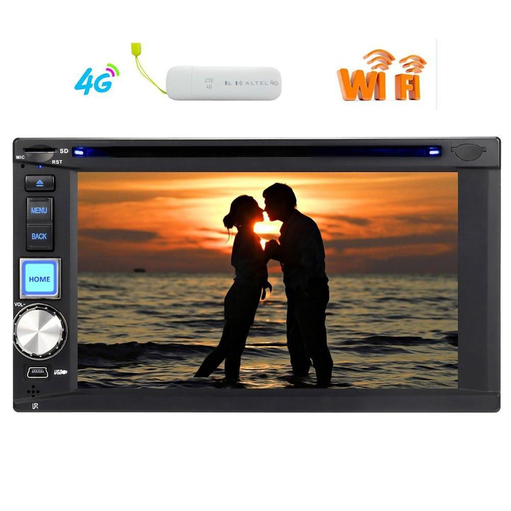 Quad Core Android 6.0 Auto Car Radio Stereo Double Din Headunit 6.2'' GPS Navigation Bluetooth SWC WIFI 4G Dual CAM IN+4G dongle