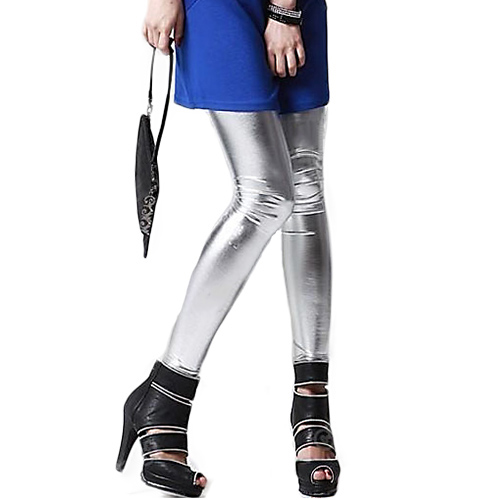 Hot Girls Metallic Colorful Shiny Sparkle Spandex Faux Leather Summer   Leggings   8ON8