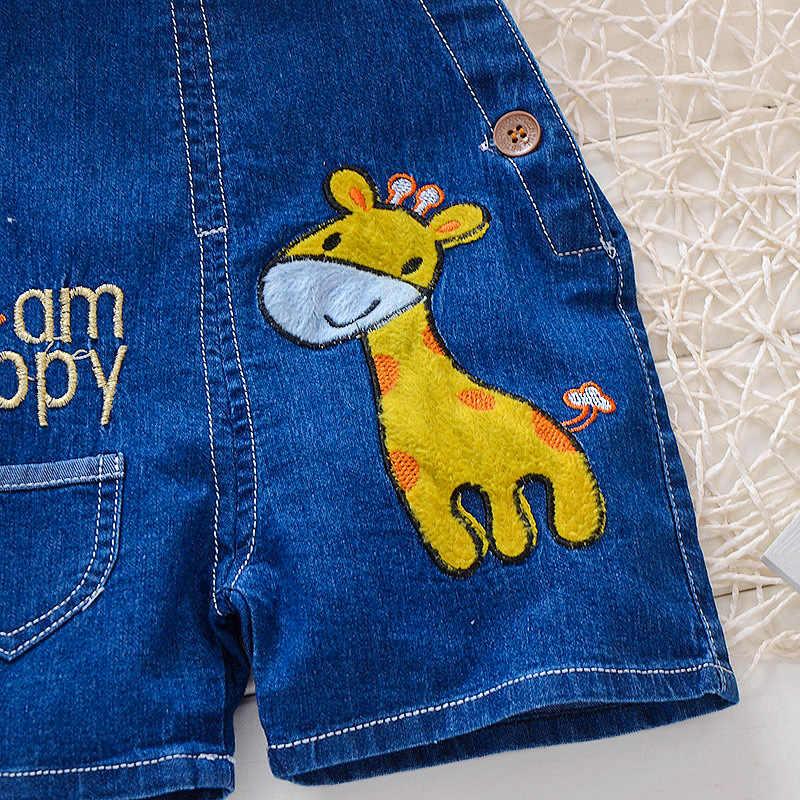 Джинсовые шорты Летняя одежда для маленьких девочек нагрудник с буквенным карманом и пуговицами, с рисунком, штаны для малышей, Повседневная Верхняя одежда для маленьких мальчиков
