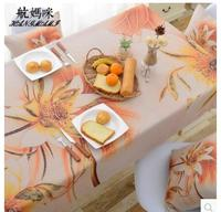 elegant flower printed tablecloth golden Lotus cabinet cover table cloth living room cotton linen tablecloths cover