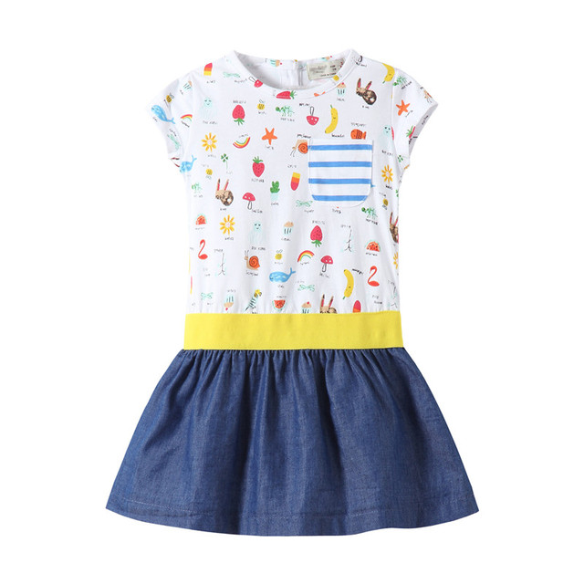 4a02048d8dd5b US $6.97 45% OFF| 2 7T Baby girls summer dresses cute hot children clothes  all print knitted short sleeved girl frocks kids casual wear little -in ...