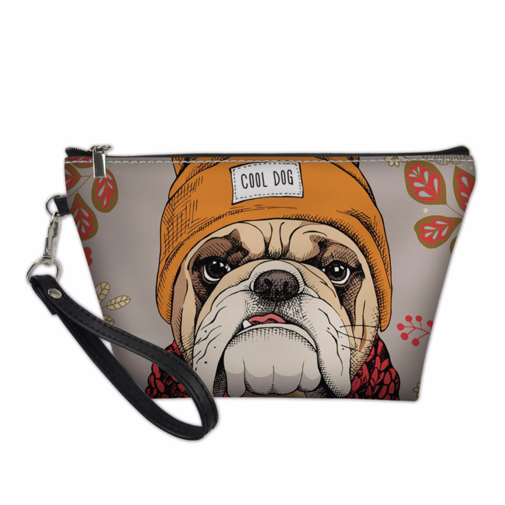 Noisydesigns Make Up Bag for Women Makeup Case Box Bulldog Printed Cosmetic Bags Toiletry Kit Bags Travel Organizers Pouch Bag