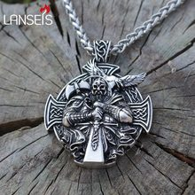 lanseis 1pcs viking Odin Helena Rosova necklace pendant Heathen men pendant norse jewelry cross with stainless steel chain