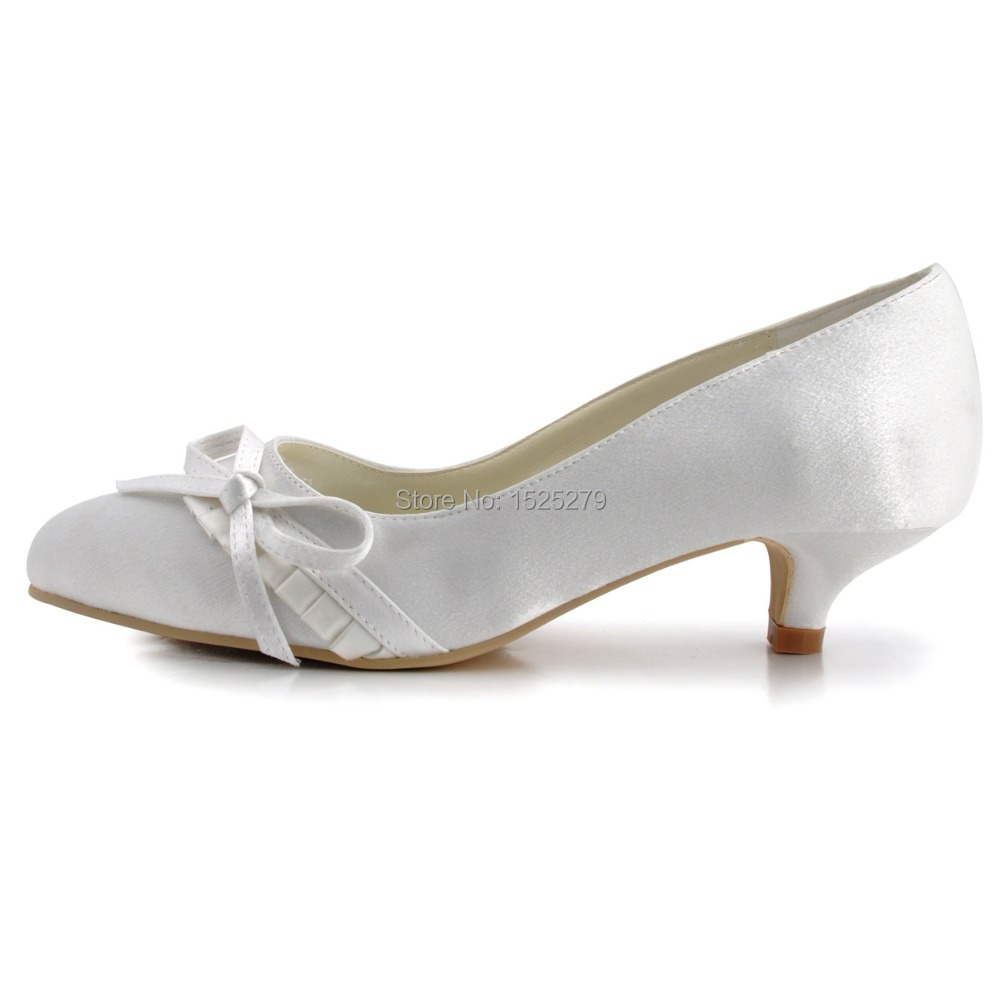 Women Shoes EL 032 White Ivory Formal Bride Bridal Closed Toe Evening Prom  Party Pumps Low Heel Ruffled Satin Bow Wedding Shoes-in Women s Pumps from  Shoes ... 66b7db667d01
