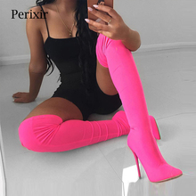 Perixir 2018 Fashion Color Customized Stretchy Lycra Sock Boots Pointy Toe Over-the-Knee Heel Thigh High Pointed Toe Women Boots choudory 2017 fashion runway stretchy sock boots point toe stiletto heel thigh high boot kylie jenner shoes woman crotch booties