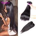 Top Peruvian Straight Hair With Closure Cheap Straight Human Hair 3 Bundles With Closure 8A Peerless Virgin Hair with Closure
