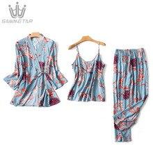 Zijde pyjama set Vrouwen 3 Delige Set Slaap Lounge Mode Spaghetti Band Satijn Nachtkleding Print Lange Mouwen night pak