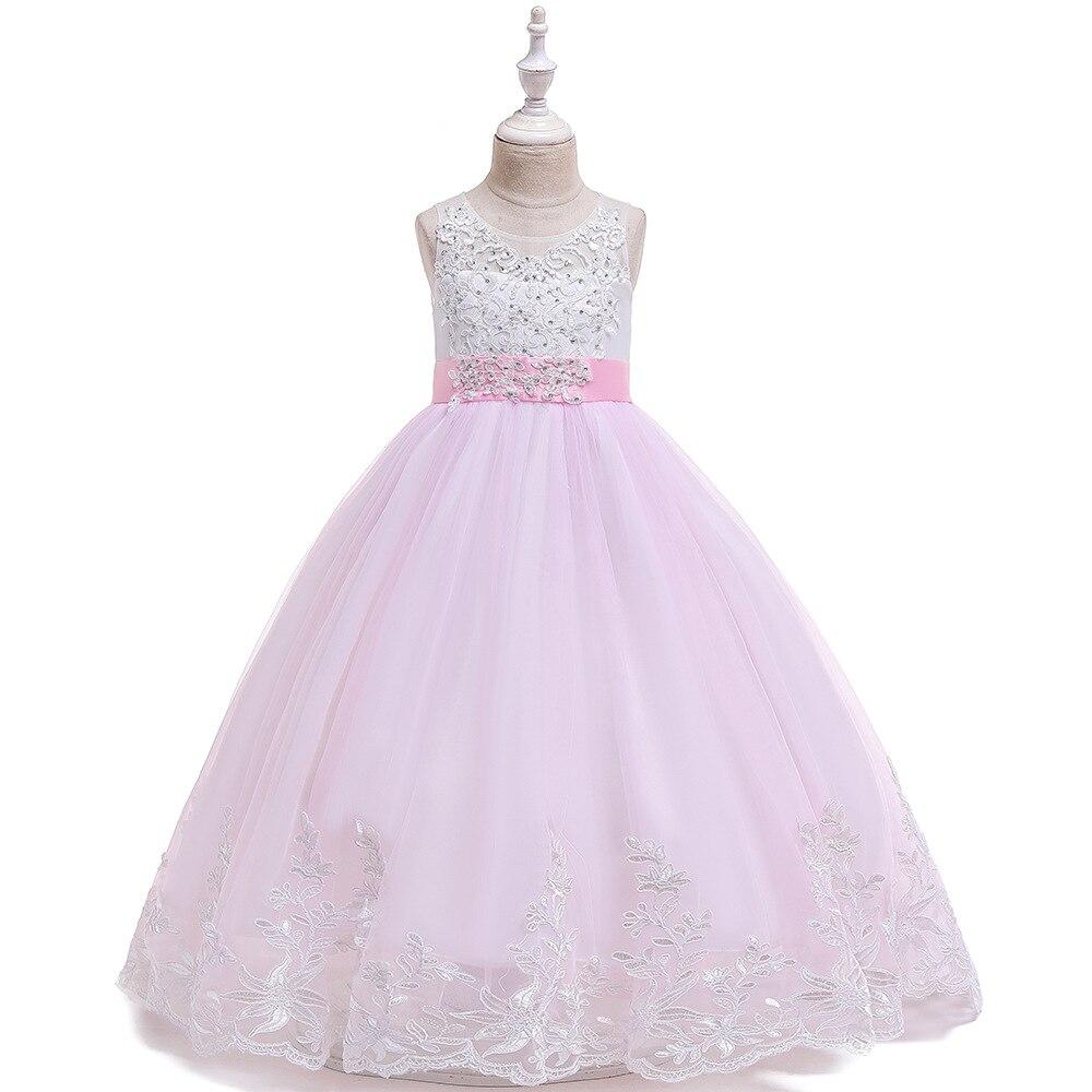 Lovely Ballgown Pink Appliques Kids Formal Wear   Flower     Girls     Dresses   for Wedding Tulle Long Communion   Dress   2020